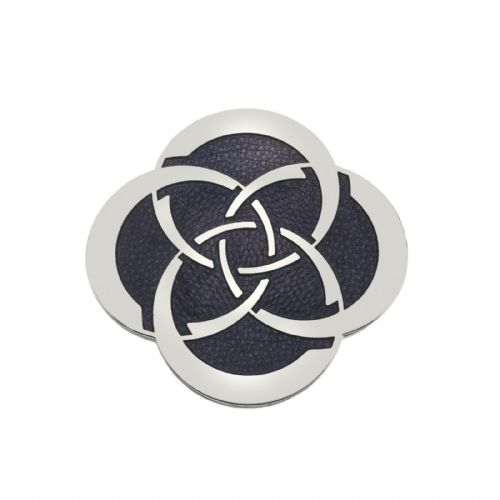 Celtic Slim Knot Brooch Silver Plated Purple Brand New Gift Packaging